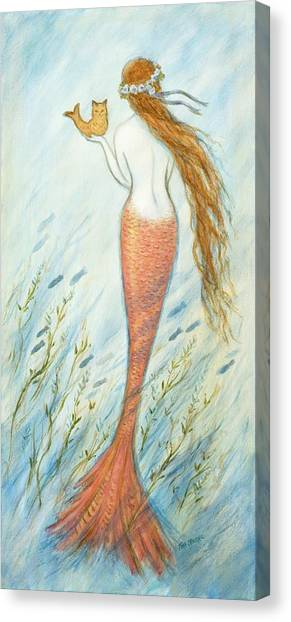 Catfish Canvas Print - Mermaid And Her Catfish, Goldie by Tina Obrien