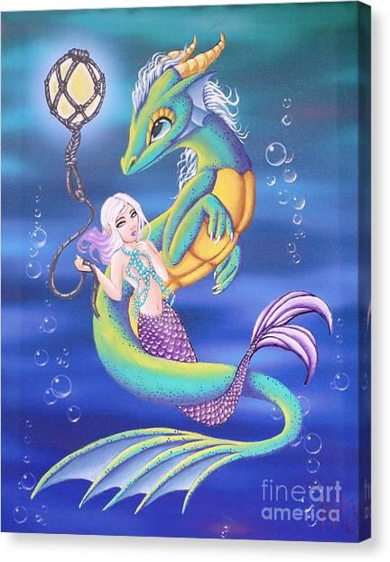 Mermaid And Sea Dragon Canvas Print