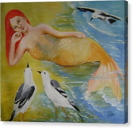 Mermaid And Seagulls Canvas Print by Lian Zhen