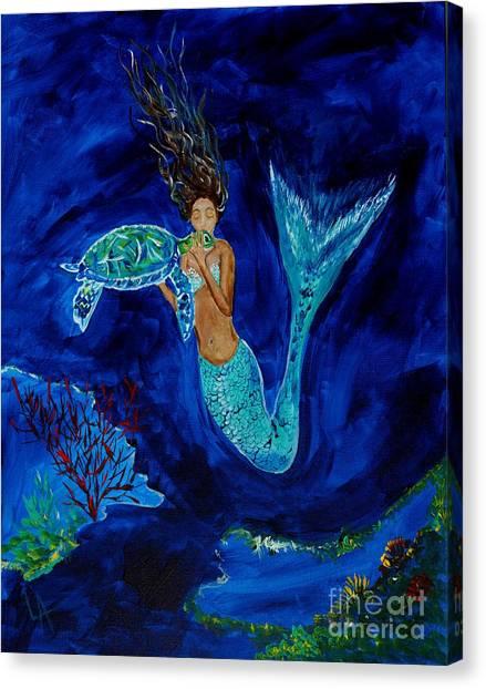 Mermaid And The Sea Turtle Canvas Print