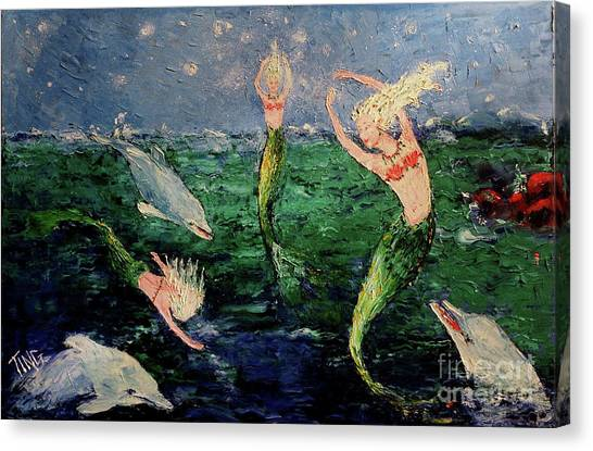 Mermaid Dance With Dolphins Canvas Print
