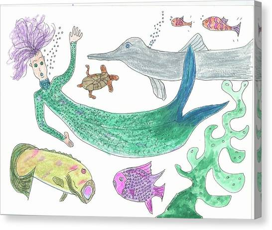 Mermaid Hello Canvas Print