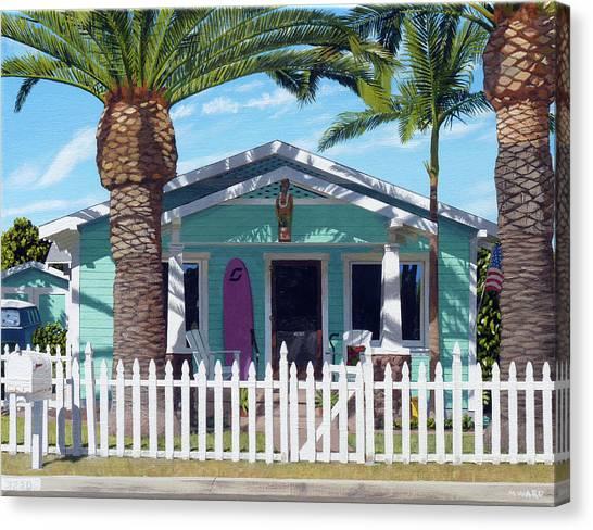 Surfboard Fence Canvas Print - Mermaid House by Michael Ward