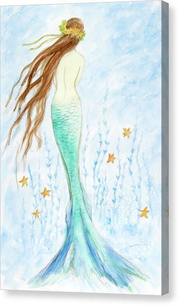 Mermaids Canvas Print - Mermaid In Her Garden by Tina Obrien