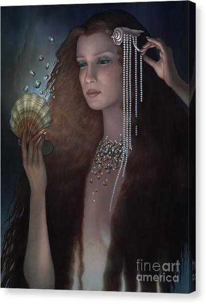 Pre-raphaelite Art Canvas Print - Mermaid by Jane Whiting Chrzanoska