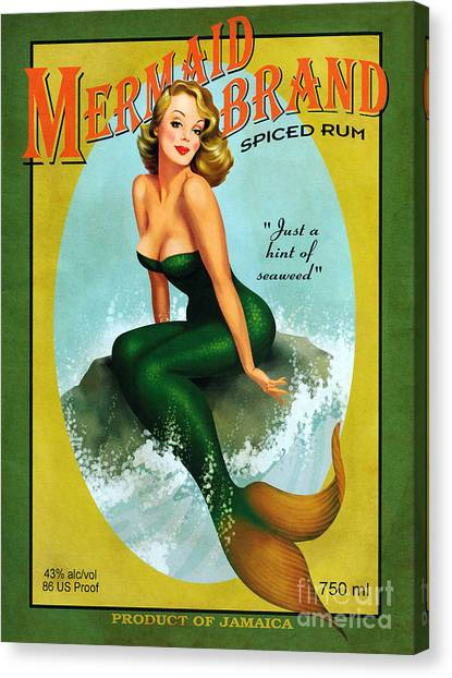 Rum Canvas Print - Mermaid Spiced Rum by Jon Neidert