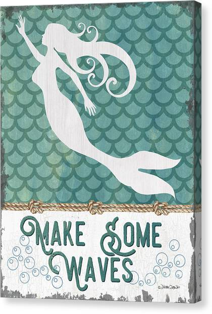 Mythological Creatures Canvas Print - Mermaid Waves 1 by Debbie DeWitt