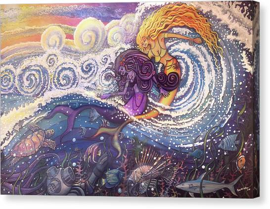 Mermaids In The Surf Canvas Print