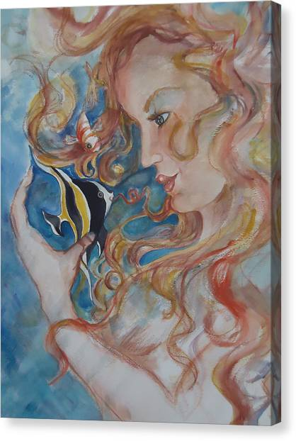 Mermaids Kiss Canvas Print