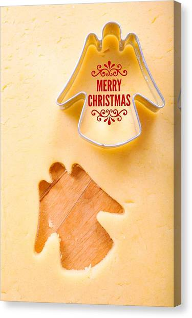 Shapes Canvas Print - Merry Christmas Angel Cookie Cutter by Matthias Hauser