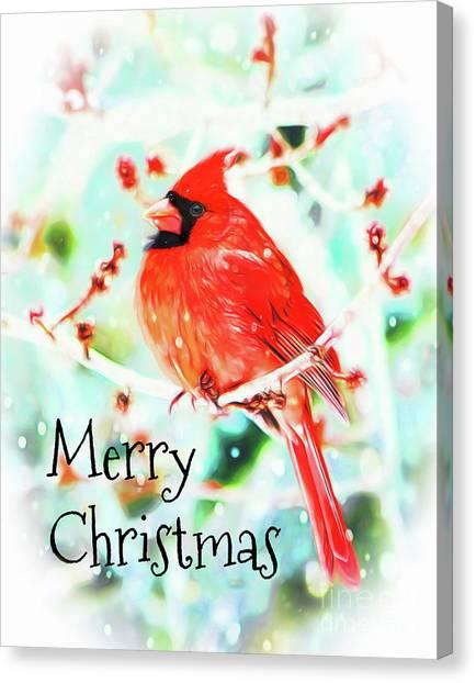 Merry Christmas Cardinal Canvas Print