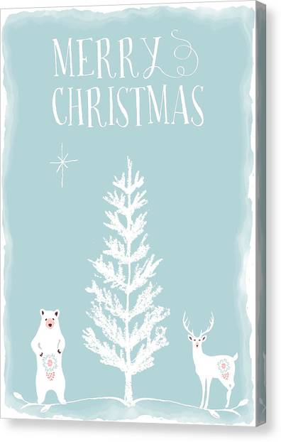Canvas Print - White Christmas Bear And Stag by Amanda Lakey