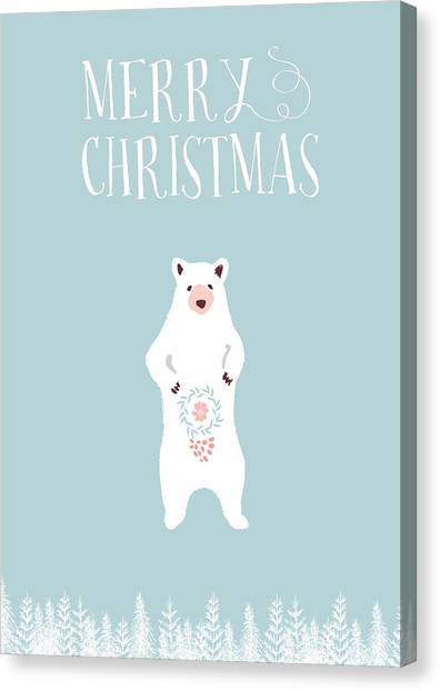 Canvas Print - White Christmas Bear by Amanda Lakey