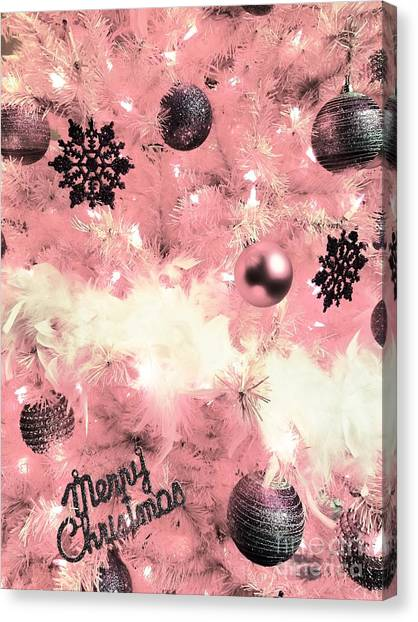 Merry Christmas In Pink Canvas Print