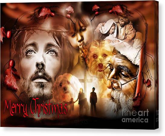 Canvas Print featuring the digital art Merry Christmas by Kathy Tarochione