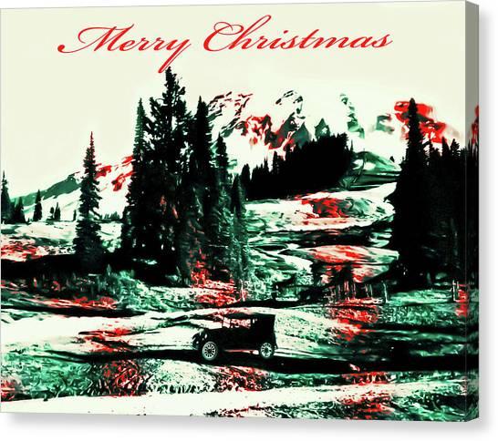 Merry Christmas Mount Rainier Canvas Print