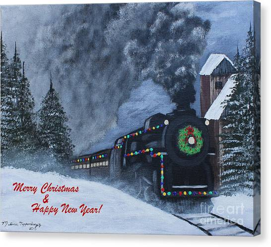 Merry Christmas Train Canvas Print