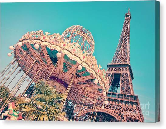 Parisian Canvas Print - Merry Go Paris by Delphimages Photo Creations