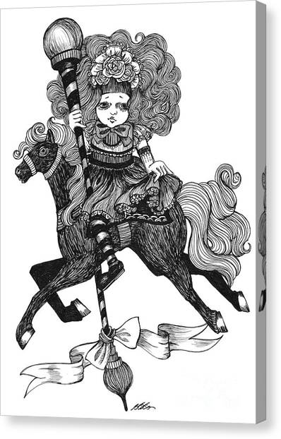 Merry-go-round Girl Canvas Print