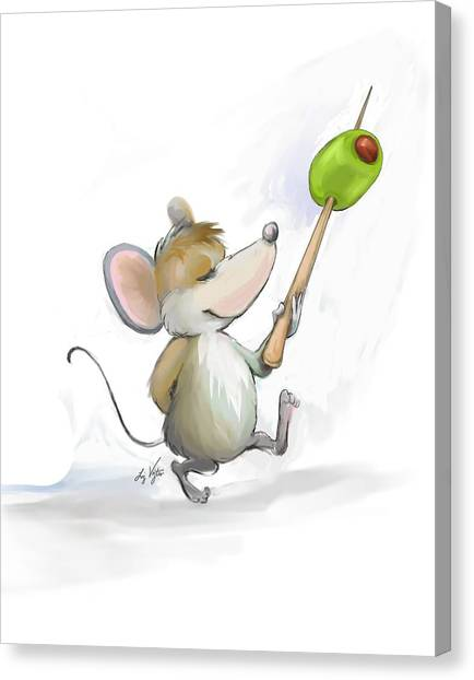 Merry Mouse Moe With Olive Canvas Print