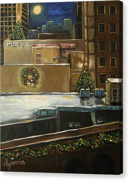 Merry Rooftops Canvas Print by Dyanne Parker