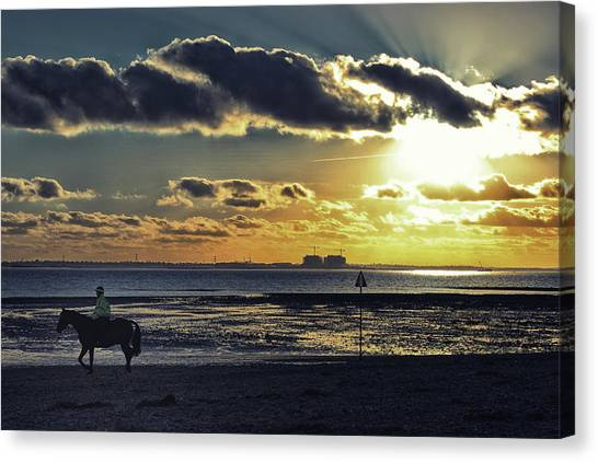 Beach Cabin Canvas Print - Mersea Island by Martin Newman