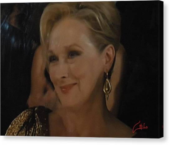 Meryl Streep Receiving The Oscar As Margaret Thatcher  Canvas Print