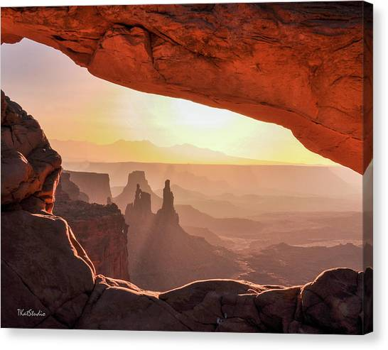 Mesa Arch At Sunrise, Washer Woman Formation , Canyonlands National Park, Utah Canvas Print