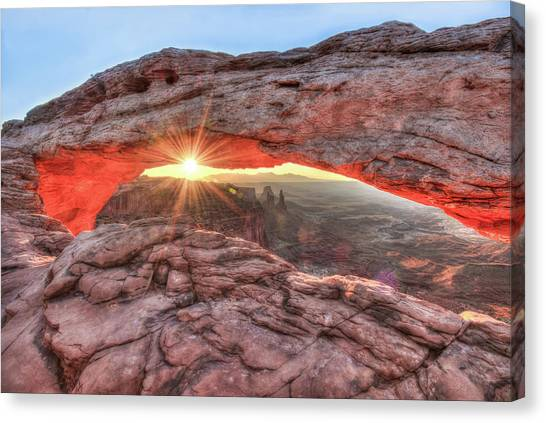 Canvas Print featuring the photograph Mesa Arch Majesty - Canyonlands National Park by Gregory Ballos