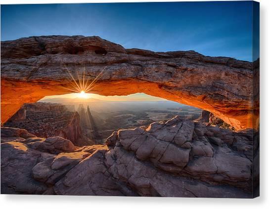 View Through The Mesa Arch At  Sunrise Canvas Print