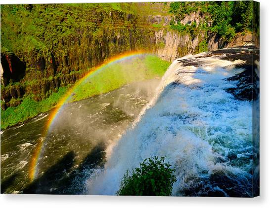 Great Falls Of Yellowstone Canvas Print - Mesa Falls Rainbow by Greg Norrell