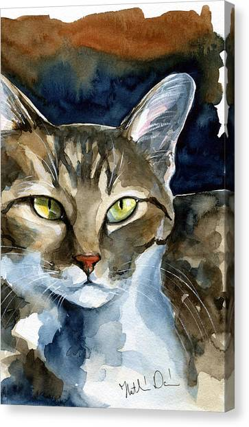 Mesmerizing Eyes - Tabby Cat Painting Canvas Print