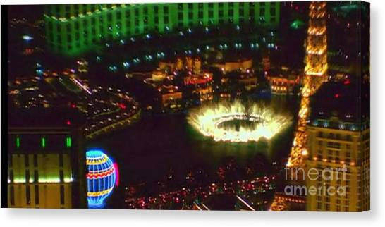 Hoodie Canvas Print - Mesmerizing Fountains Show Water Falls Casino Towers Las Vegas Ugly Picture Is High Use Of Water Ele by Navin Joshi