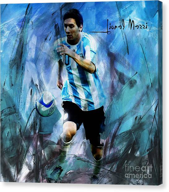 Lionel Messi Canvas Print - Messi 98iu by Gull G