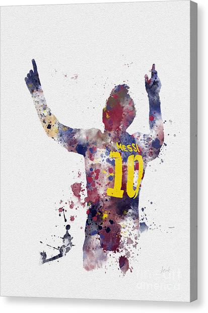 South American Canvas Print - Messi by Rebecca Jenkins