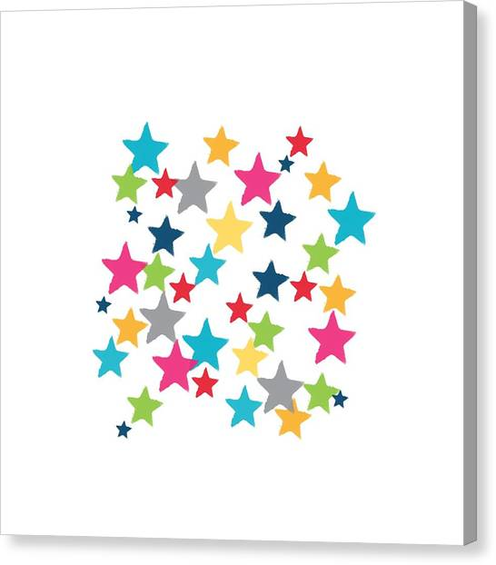Pattern Canvas Print - Messy Stars- Shirt by Linda Woods