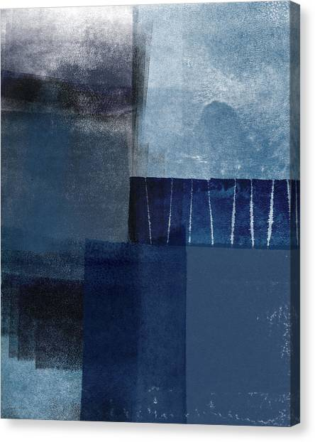 Navy Blue Canvas Print - Mestro 1- Abstract Art By Linda Woods by Linda Woods