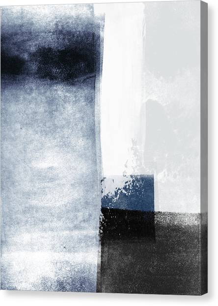 Navy Blue Canvas Print - Mestro 3- Abstract Art By Linda Woods by Linda Woods