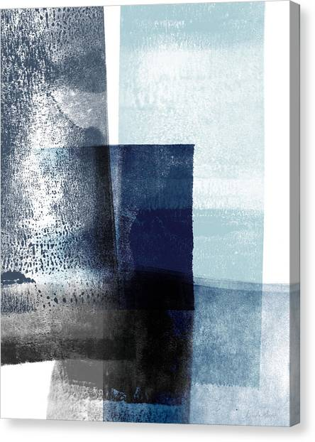 Navy Blue Canvas Print - Mestro 4- Abstract Art By Linda Woods by Linda Woods