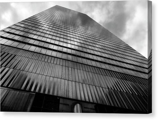 Metal And Glass High Rise Canvas Print by Robert Ullmann