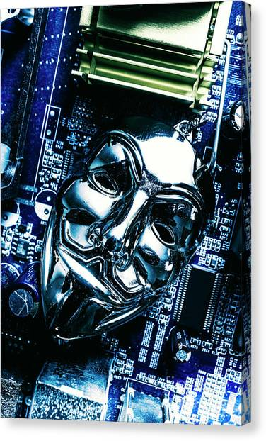 Computers Canvas Print - Metal Anonymous Mask On Motherboard by Jorgo Photography - Wall Art Gallery