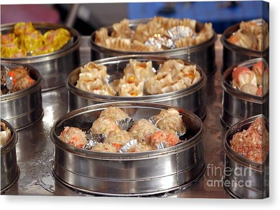 Stuffing Canvas Print - Metal Steamers With Dim Sum Dishes by Yali Shi