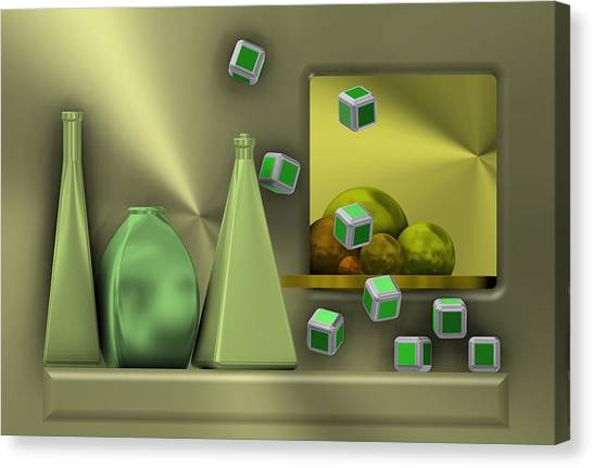 Metalic Still Life With Cubes Flying Canvas Print