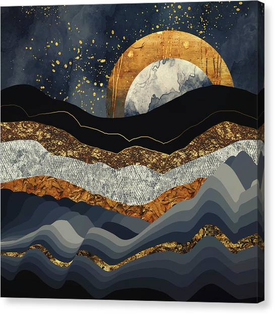 Landscape Canvas Print - Metallic Mountains by Katherine Smit
