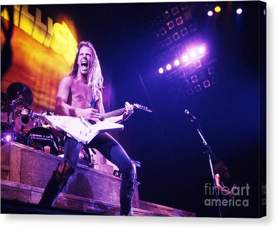 Chris Walter Canvas Print - Metallica 1986 James Hetfield by Chris Walter