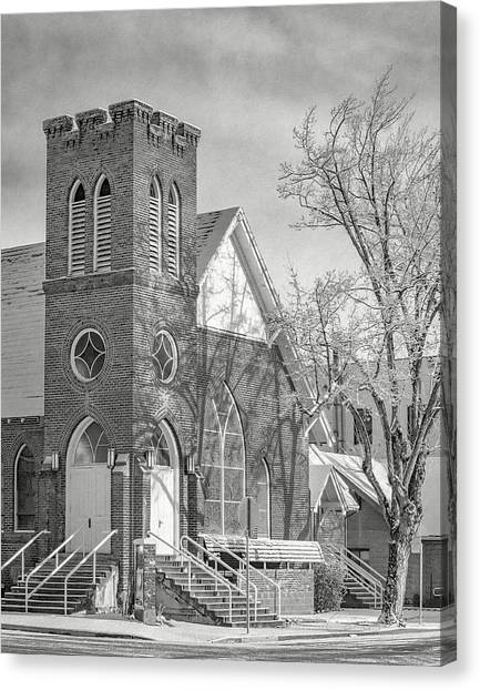 Methodist Church In Snow Canvas Print by The Couso Collection