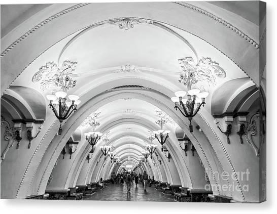 Moscow Canvas Print - Metro Arbatskaya by Delphimages Photo Creations