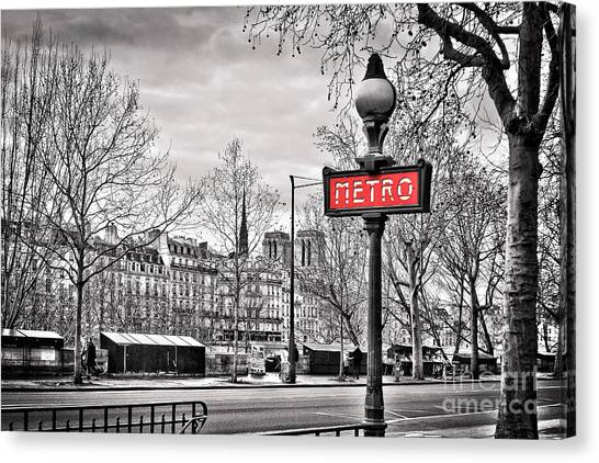 Notre Dame Canvas Print - Metro Pont Marie by Delphimages Photo Creations