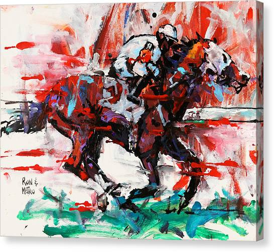 Thoroughbreds Canvas Print - Metro Wins Again  by Ron and Metro
