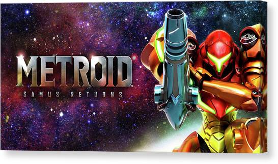 Metroid Canvas Print - Metroid Samus Returns by Barbara Elvins
